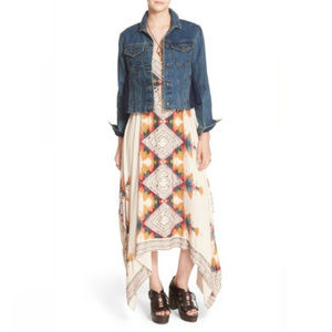 Free People Navy Lace Panel Dark Wash Denim Jacket